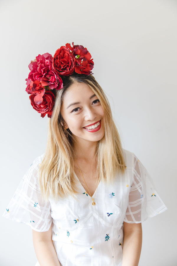 statement flower crown | red