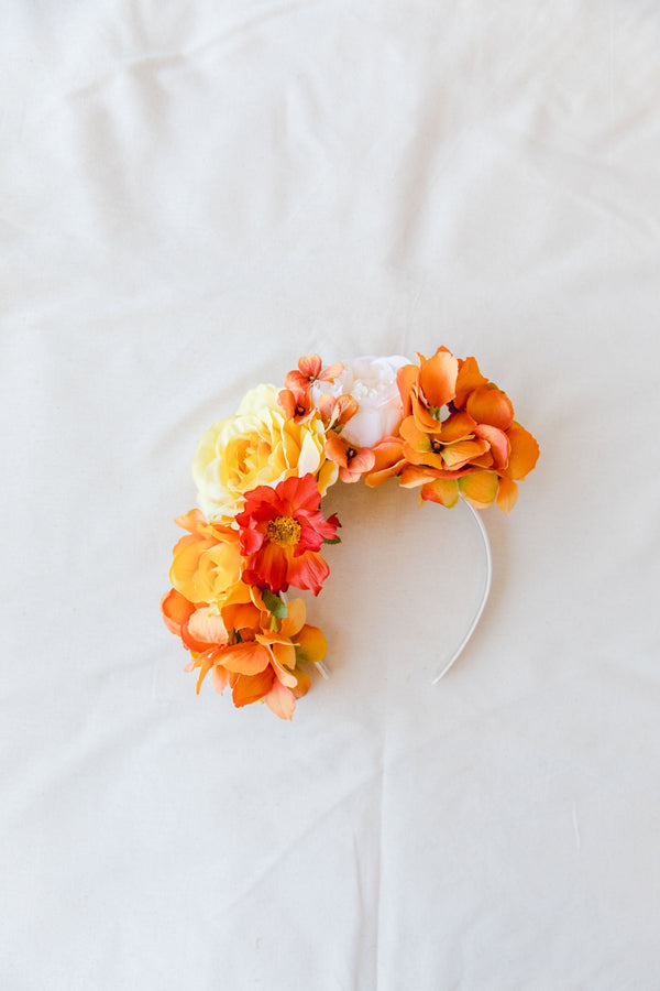 statement flower crown | orange