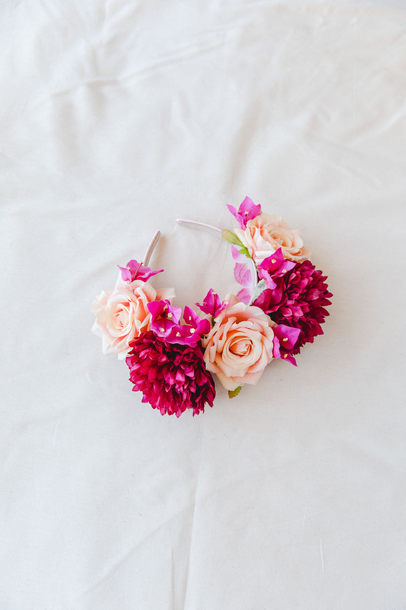 statement flower crown | peach