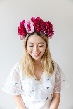 statement flower crown | fuchsia