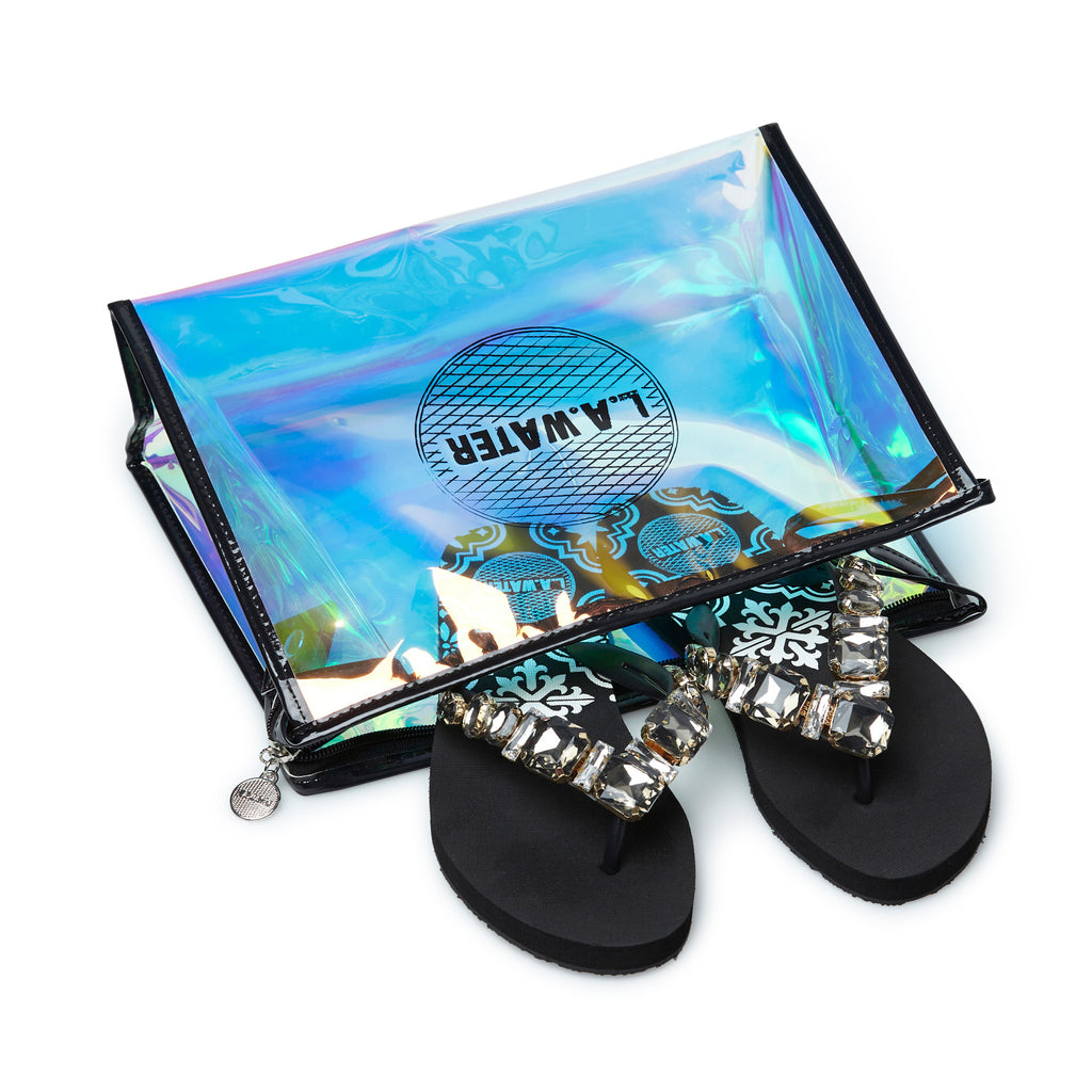 BLACK MAJOLICA SLIPPERS
