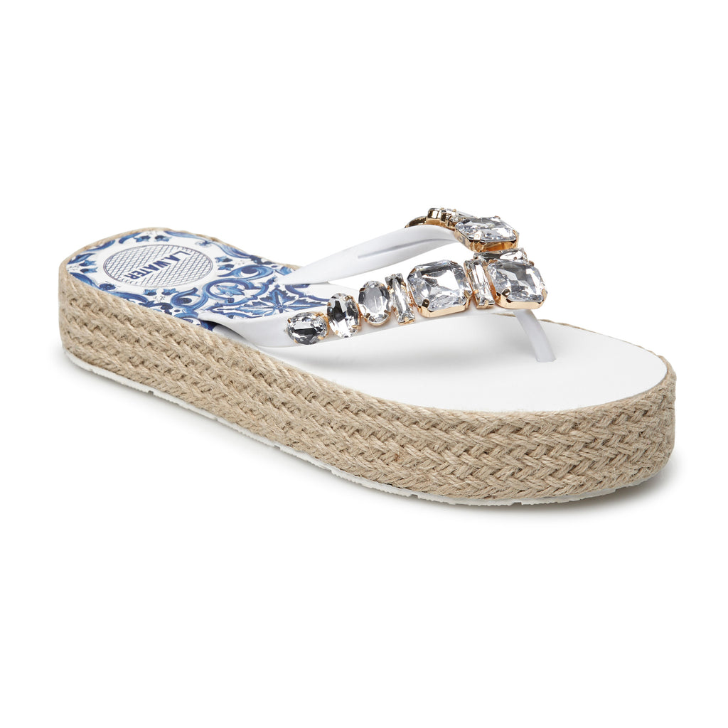 WHITE MAJOLICA SLIPPERS, WITH ROPE SOLE