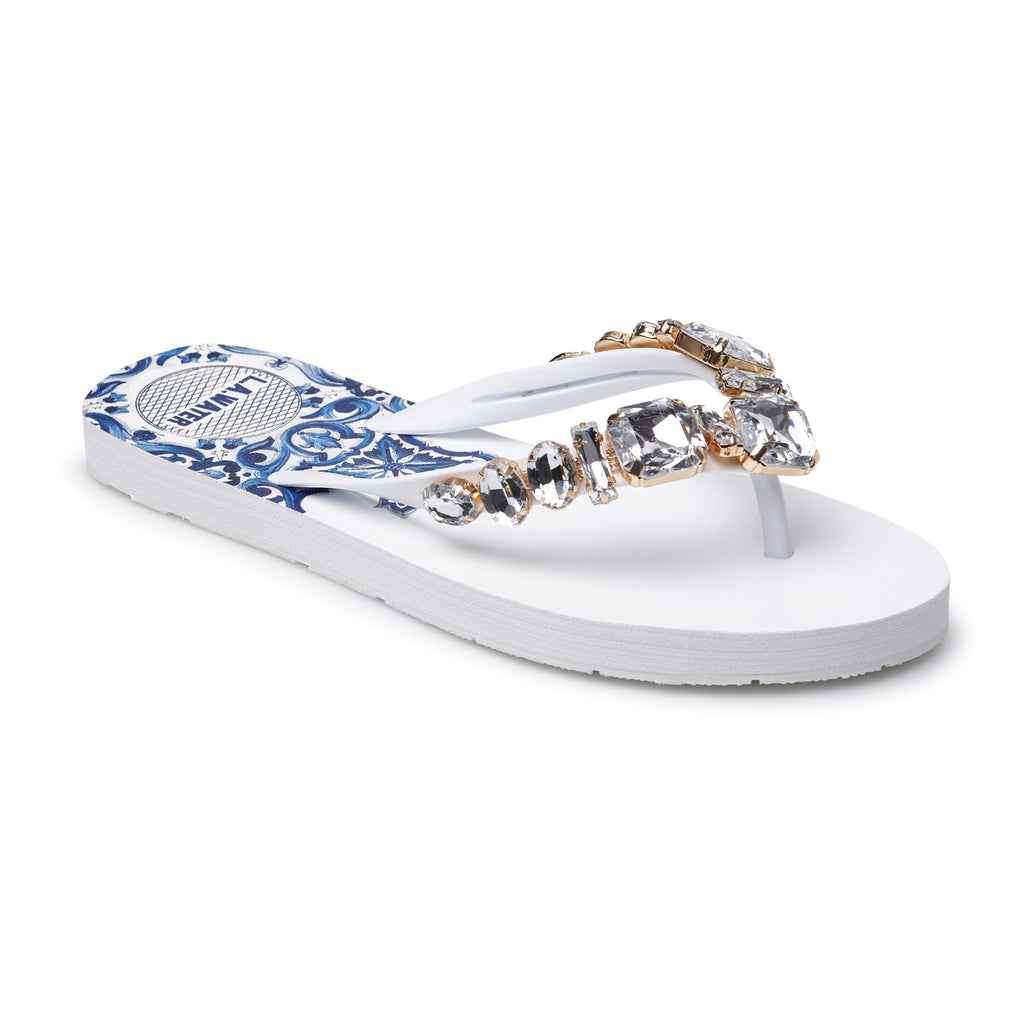 WHITE MAJOLICA SLIPPERS
