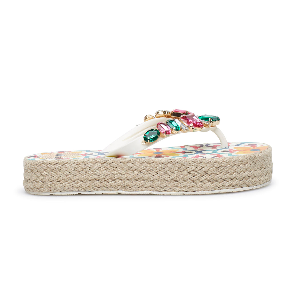 MULTICOLOURED MAJOLICA SLIPPERS, WITH ROPE SOLE