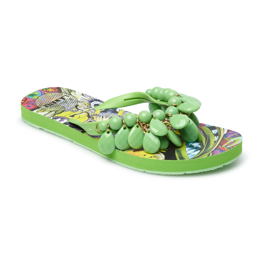 GREEN FLOWERS SLIPPERS