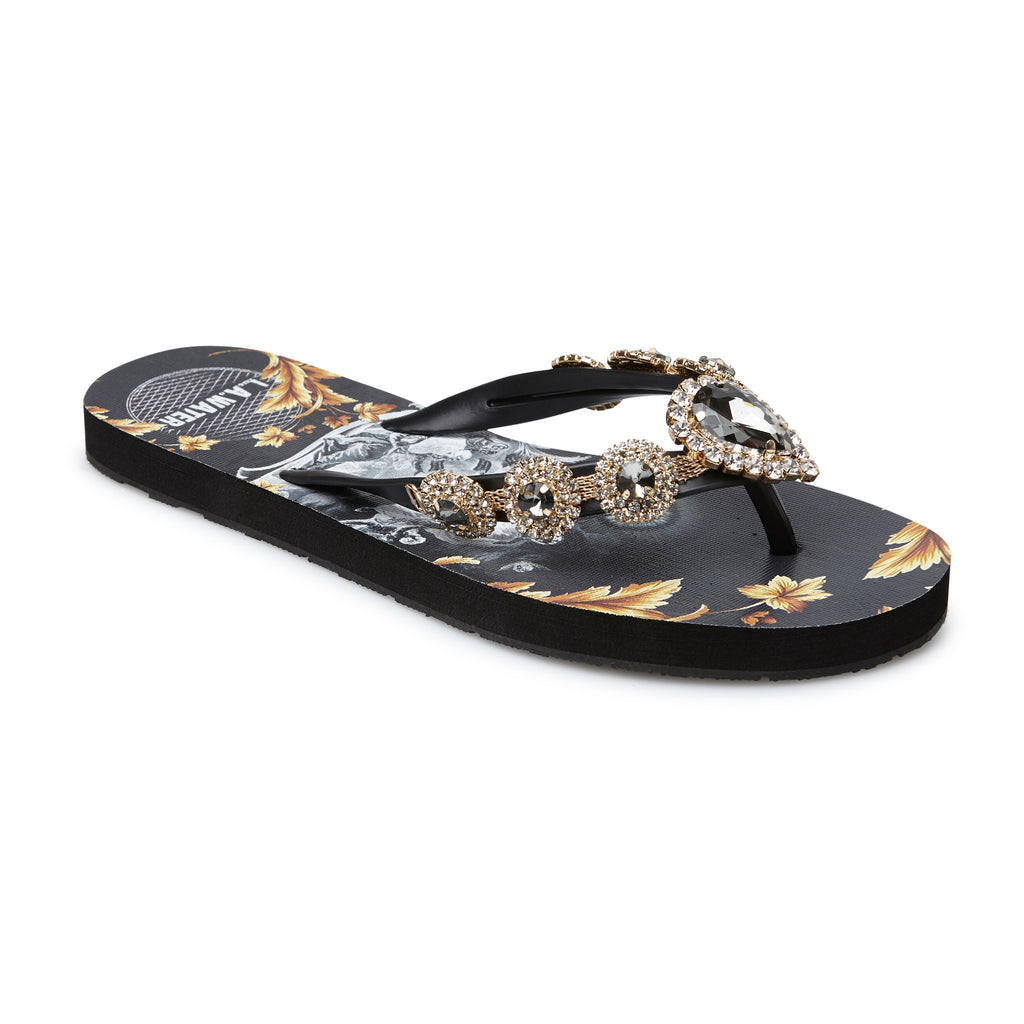 BLACK AND GOLD MYSTICAL SLIPPERS