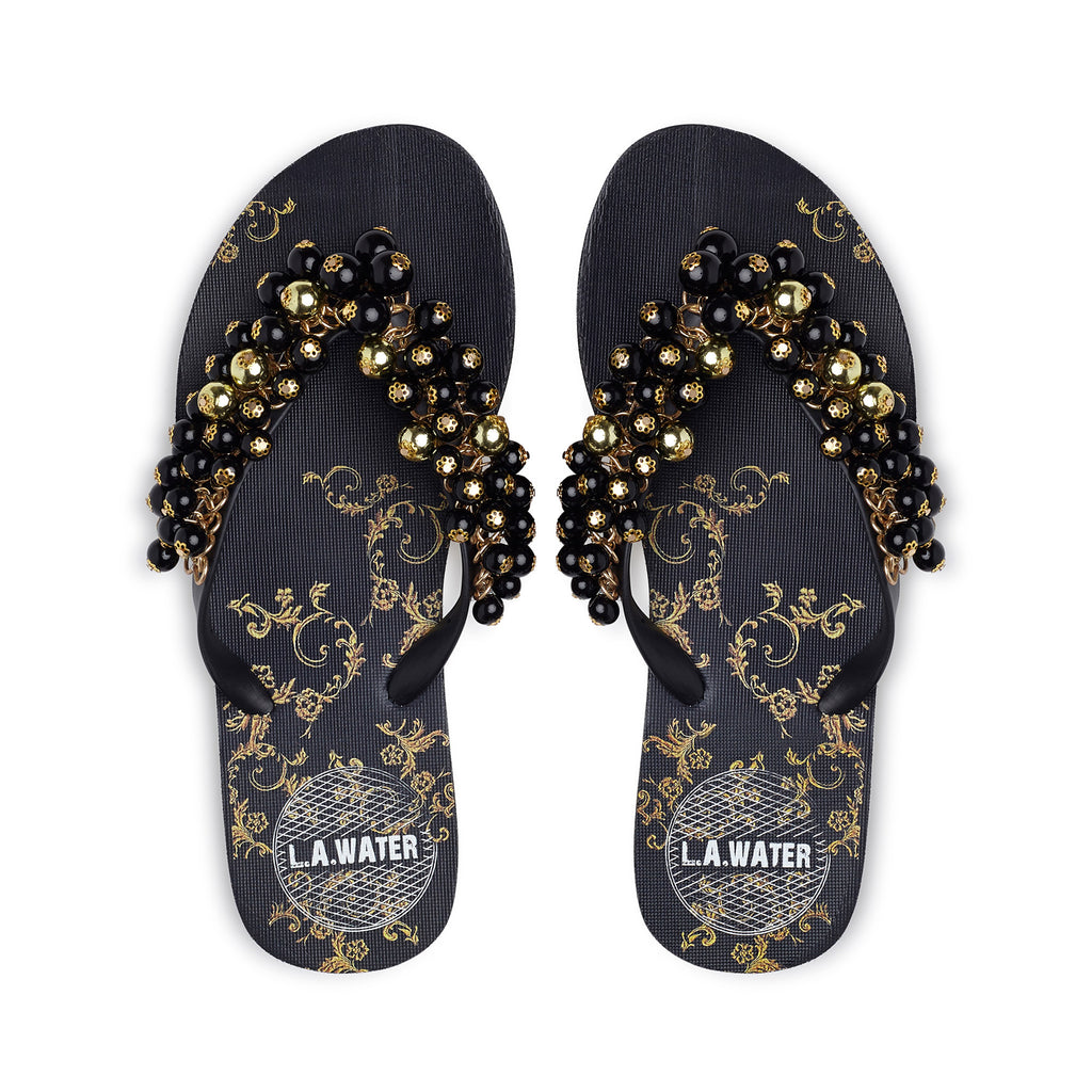 BLACK BAROQUE SLIPPERS