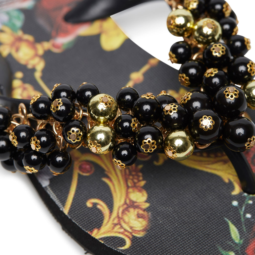 BLACK AND GOLD BAROQUE SLIPPERS