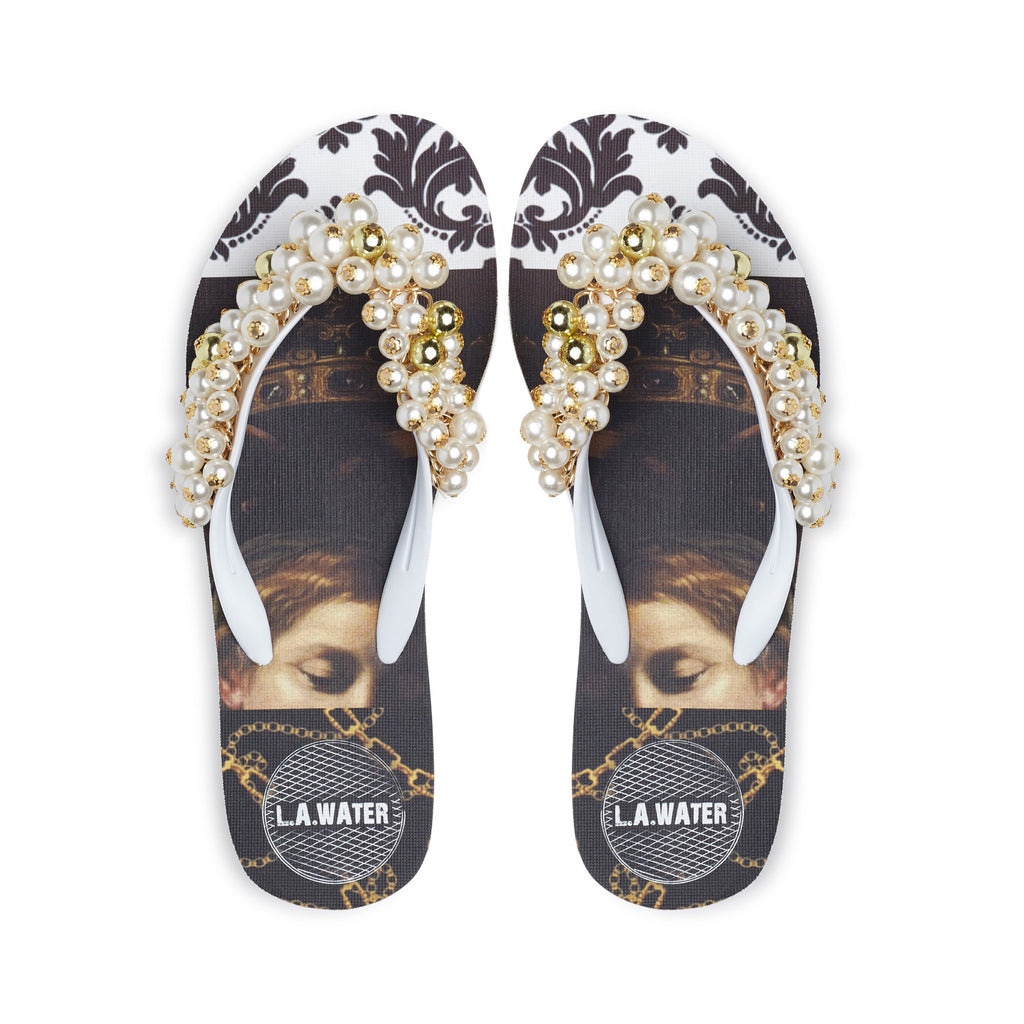 WHITE BAROQUE SLIPPERS