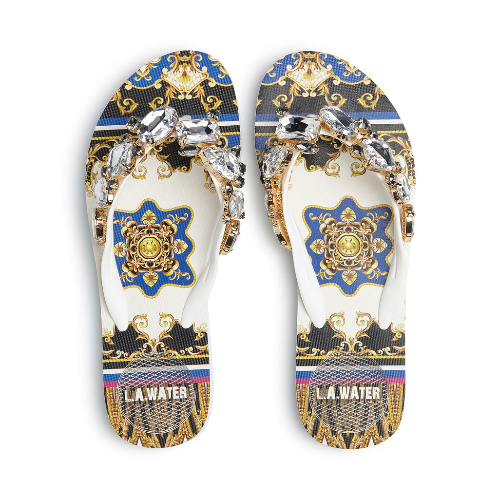 WHITE NEW BAROQUE SLIPPERS