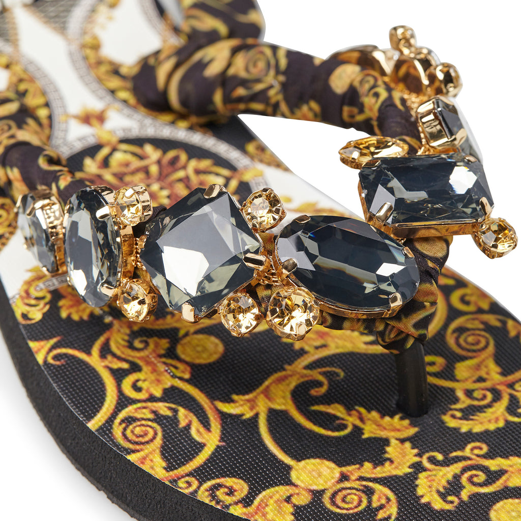 BLACK FOULARD NEW BAROQUE SANDALS