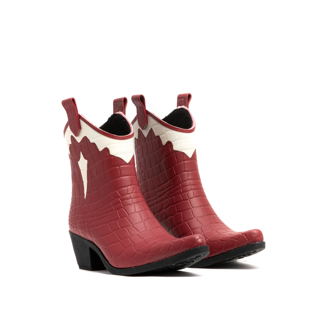 RED AND WHITE CROC TEXAS BOOT