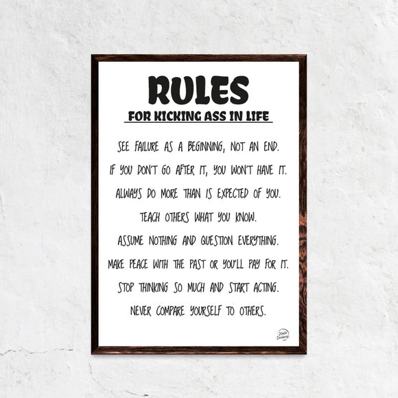 Rules of life plakat ramme