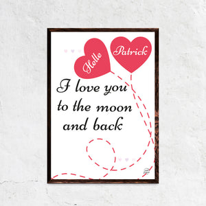 I Love You To The Moon Plakat - hellederborg