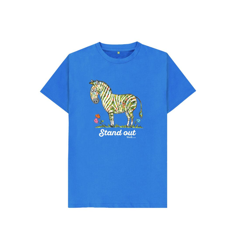 Bright Blue Stand Out Zebra t-shirt