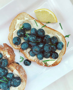 Blueberry Balsamic & Whipped Goat Cheese Crostini