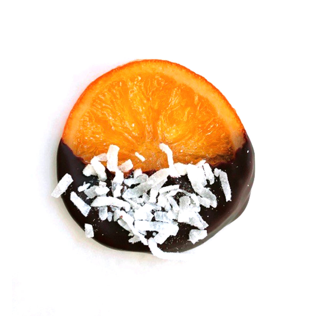 Gourmet Coconut Candied Orange Slices Dipped in Chocolate - Gift Box