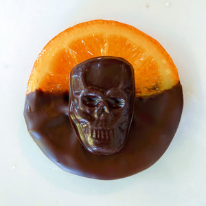Skull Candied Orange Slices dipped in chocolate