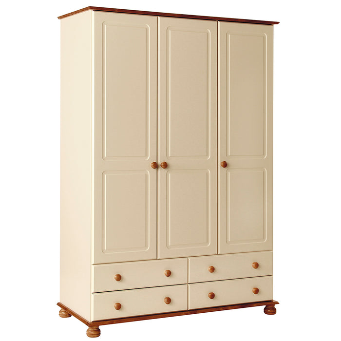 Copenhagen 3 Door 4 Drawer Wardrobe in Cream and Pine (1012202) - Insta Living