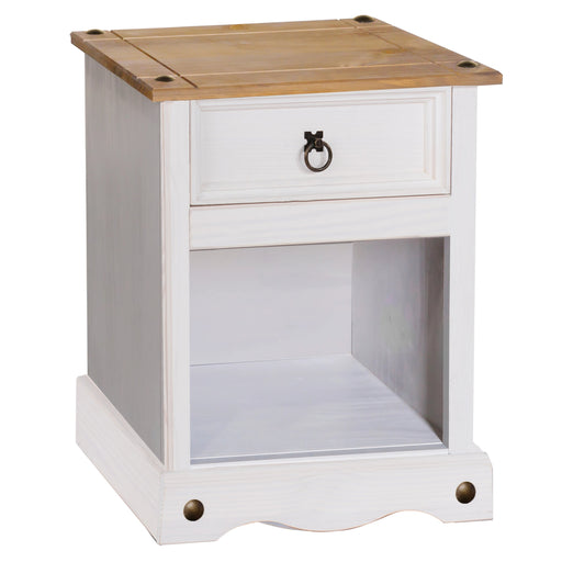 Core Products CRW108 Corona White 1 Drawer Bedside Cabinet - Insta Living