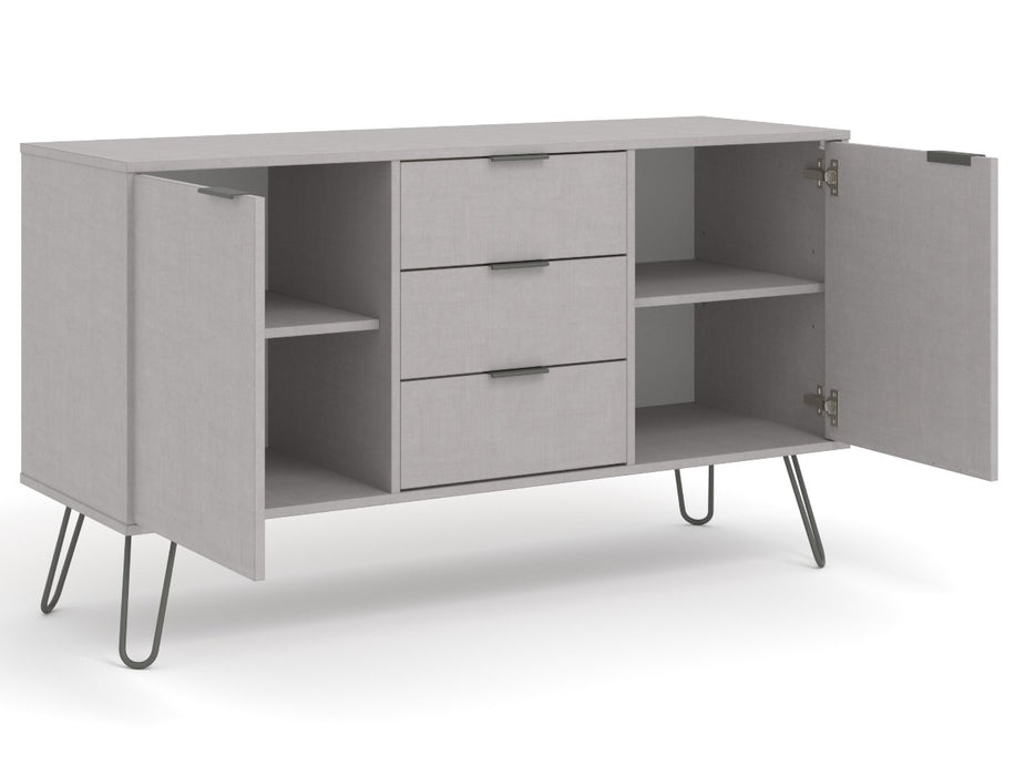 Core Products AGG916 Augusta Grey Medium Sideboard with 2 Door, 3 Drawers - Insta Living