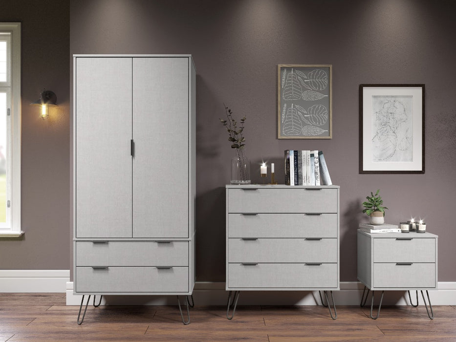 Core Products AGG582 Augusta Grey 2 Door, 2 Drawer Wardrobe - Insta Living