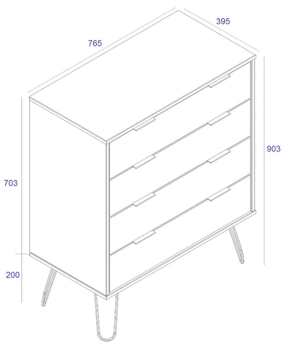 Core Products AGW514 Augusta White 4 Drawer Chest of Drawers - Insta Living