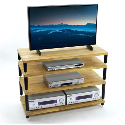 Apollo Storm 10 Solid Oak 4 Shelf Modular AV Rack - Insta Living