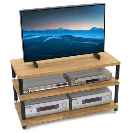 Apollo Storm 10 Solid Oak 3 Shelf Modular AV Rack - Insta Living