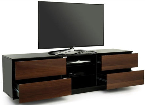 "MDA Designs Avitus Black and Walnut TV Cabinet for up to 65"" Screens - Insta Living"