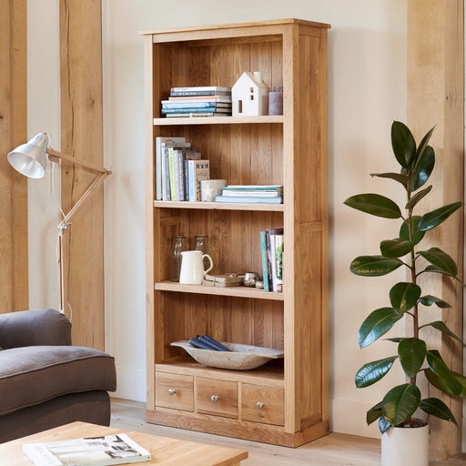 Baumhaus Mobel Oak COR01A Large 3 Drawer Bookcase - Insta Living