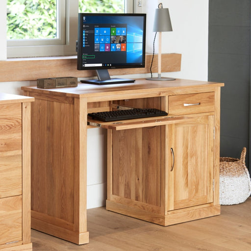 Baumhaus Mobel Oak COR06B Single Pedestal Computer Desk - Insta Living