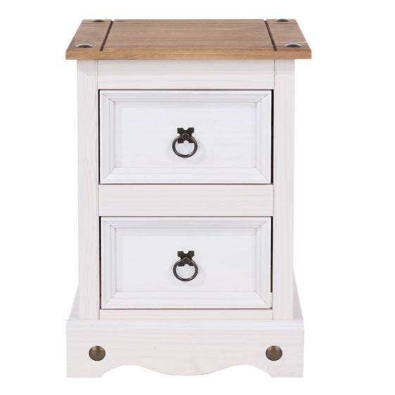 Core Products CRW109 Corona White 2 Drawer Petite Bedside Cabinet - Insta Living