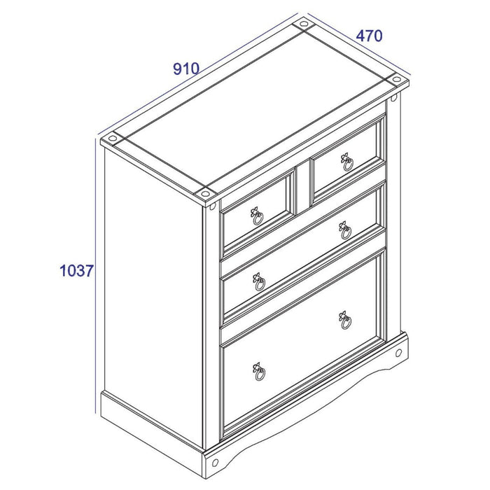 Core Products CRW112 Corona White 2+2 Drawer Chest - Insta Living
