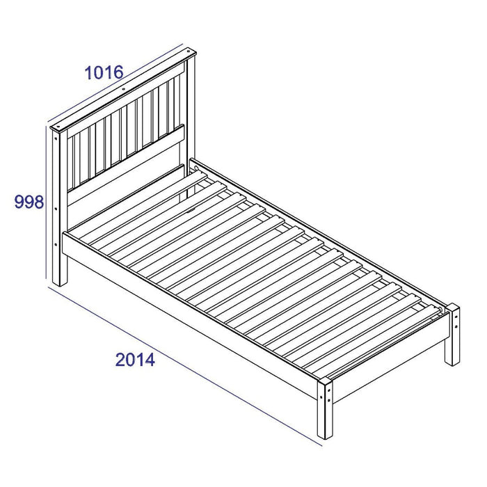 "Core Products CRW300LE Corona White 3'0"" Slatted Lowend Bedstead - Insta Living"