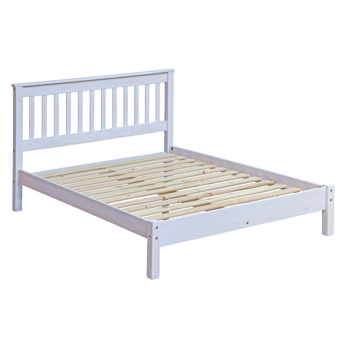 "Core Products CRW460LE Corona White 4'6"" Slatted Lowend Bedstead - Insta Living"