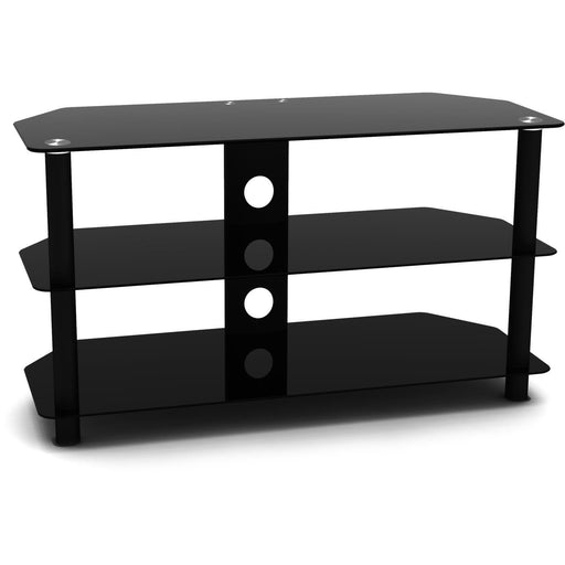 "Techlink Dais 90 Black Glass TV Stand For Up To 50"" TV Screens - Insta Living"