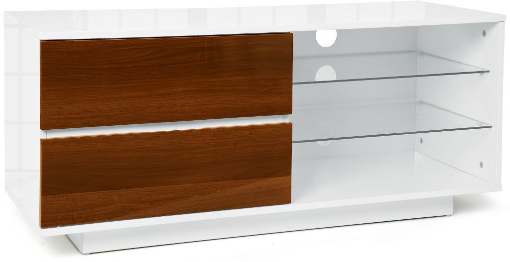 "MDA Designs Gallus White and Walnut TV Cabinet for up to 55"" Screens - Insta Living"