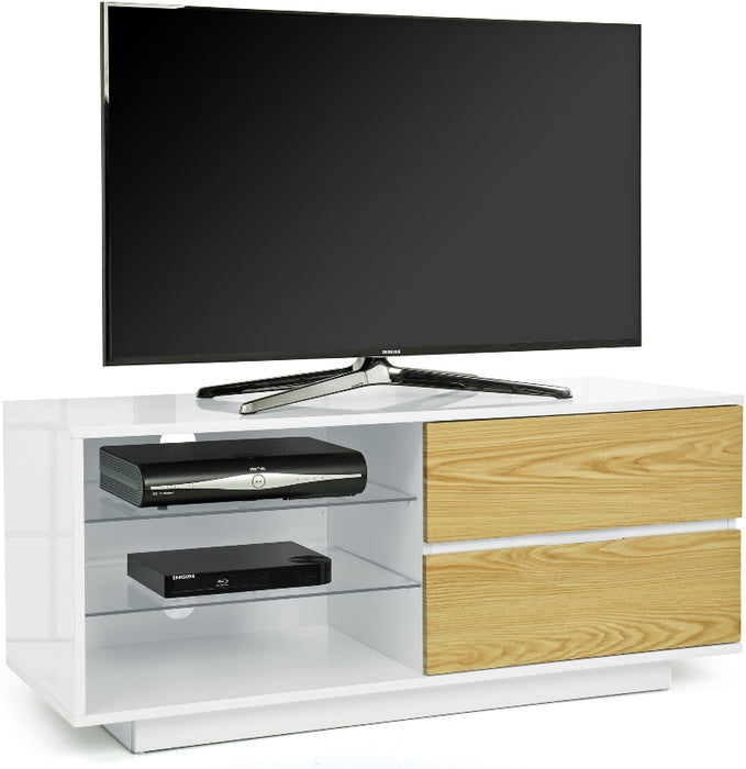 "MDA Designs Gallus White and Oak TV Cabinet for up to 55"" Screens - Insta Living"