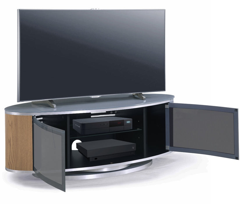 "MDA Designs Luna Grey and Oak Oval TV Cabinet for up to 55"" Screens - Insta Living"
