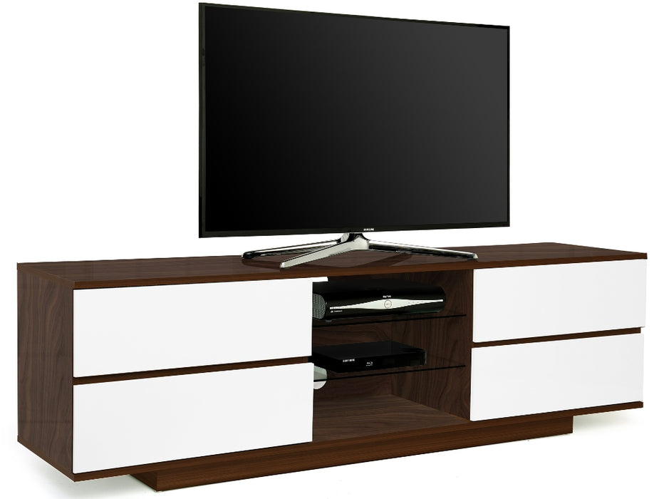 "MDA Designs Avitus Walnut and White TV Cabinet for up to 65"" Screens - Insta Living"