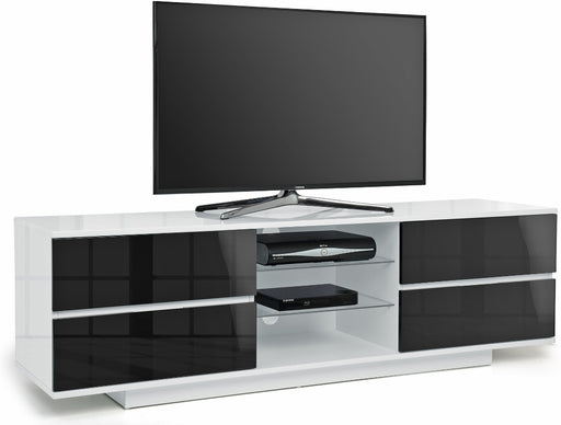 "MDA Designs Avitus White and Black TV Cabinet for up to 65"" Screens - Insta Living"