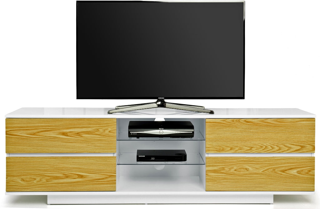 "MDA Designs Avitus White and Oak TV Cabinet for up to 65"" Screens - Insta Living"