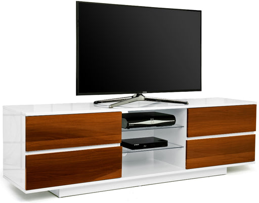 "MDA Designs Avitus White and Walnut TV Cabinet for up to 65"" Screens - Insta Living"