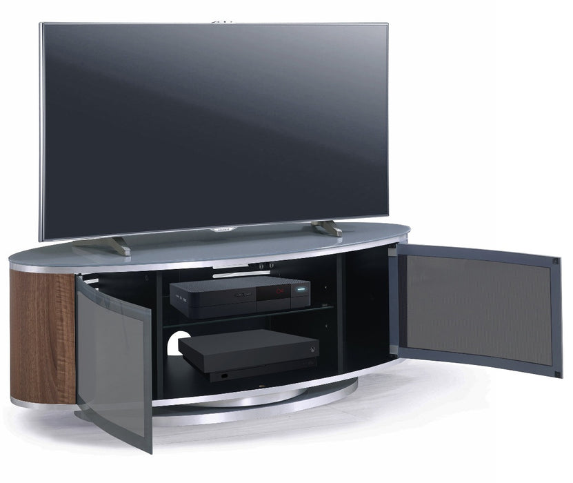 "MDA Designs Luna Grey and Walnut Oval TV Cabinet for up to 55"" Screens - Insta Living"