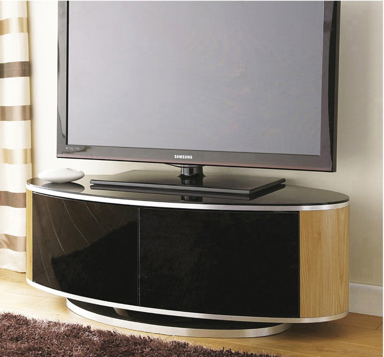 "MDA Designs Luna Oak Oval TV Cabinet for up to 55"" Screens - Insta Living"