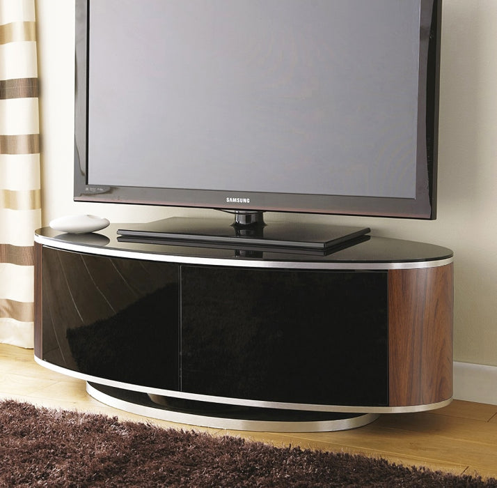 "MDA Designs Luna Walnut Oval TV Cabinet for up to 55"" Screens - Insta Living"