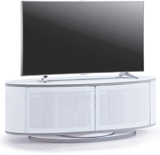 "MDA Designs Luna White Oval TV Cabinet for up to 55"" Screens - Insta Living"