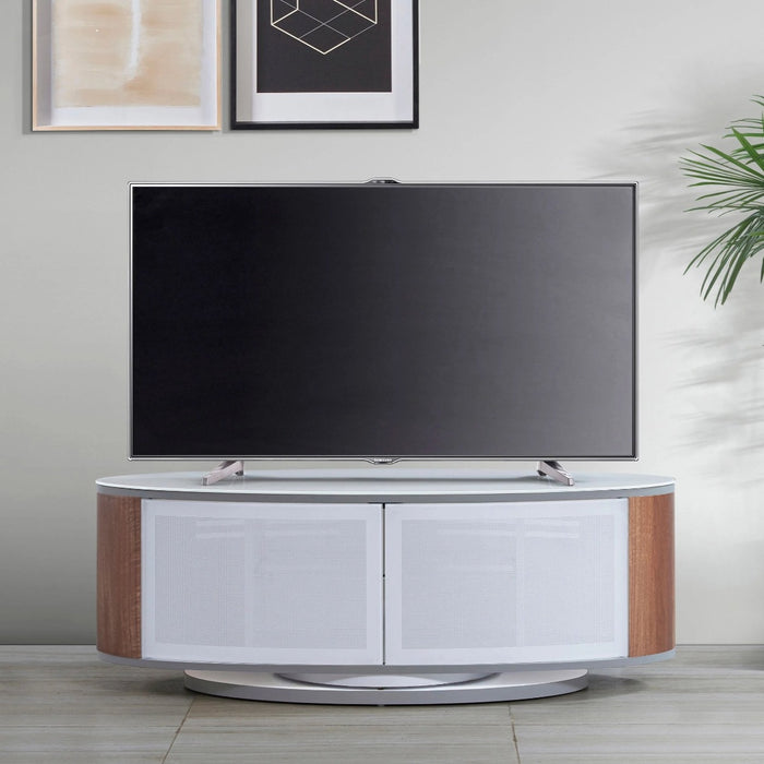 "MDA Designs Luna White and Walnut Oval TV Cabinet for up to 50"" Screens - Insta Living"
