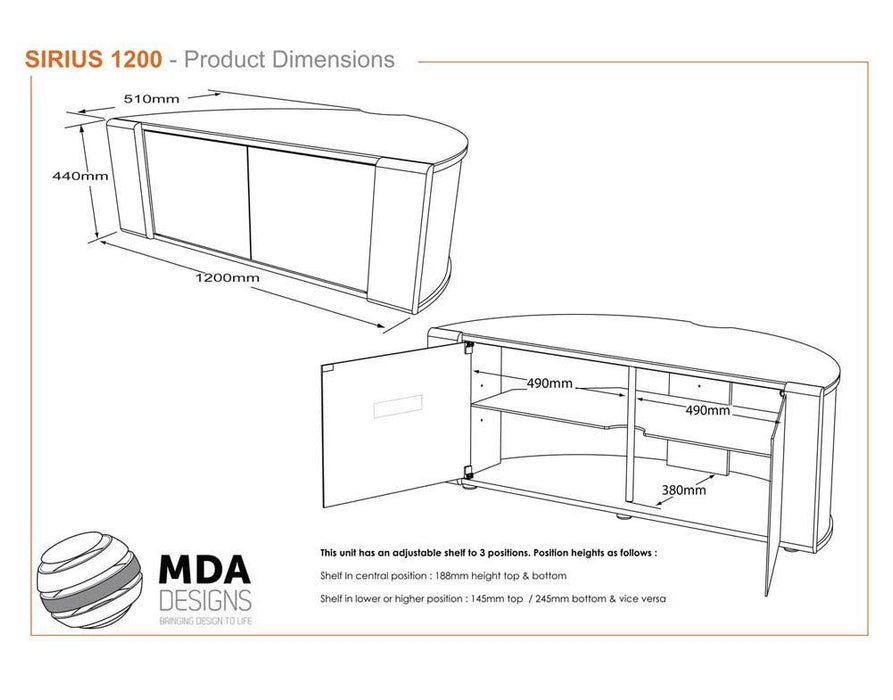 "MDA Designs Sirius 1200 Walnut TV Cabinet for up to 55"" Screens - Insta Living"
